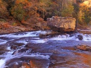 Fall at the Linville River in Burke County, North Carolina. Photo courtesy of VisitNC.com.