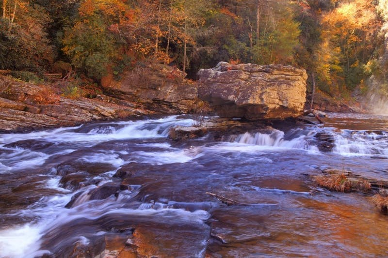 Fall at the Linville River in Burke County, North Carolina. Photo courtesy of VisitNC.com.