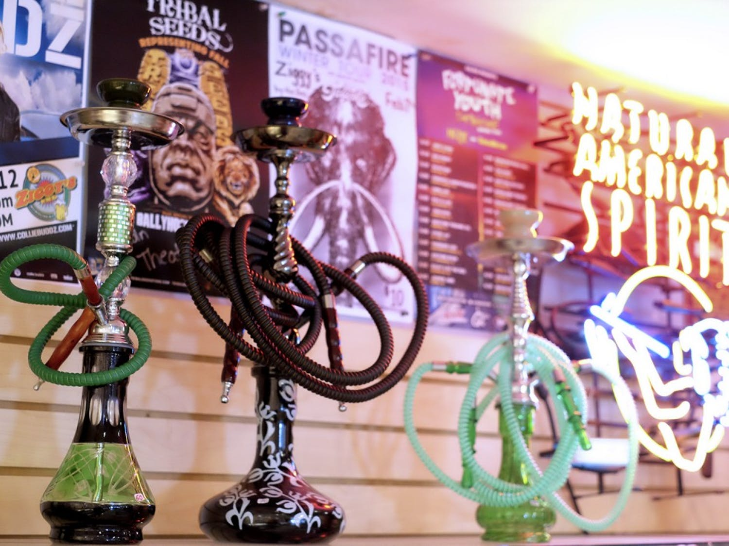 Hazmat, a local smoking accessory, apparel, and alternative goods store, has a large selection of personal Hookahs.
