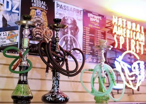 Hazmat, a local smoking accessory, apparel, and alternative goods store, hosts a large selection of personal hookah sets.