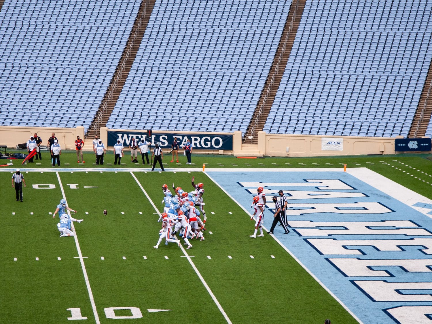UNC graduate place kicker Grayson Atkins (17) makes a field goal attempt in an empty Kenan Memorial Stadium during a game against Syracuse on Saturday, Sept. 12, 2020. The game, which was played without fans due to the ongoing COVID-19 pandemic, ended with UNC besting Syracuse 31-6.