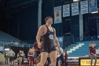 UNC senior Corey Daniel after winning his bout(3-2) against Virginia Tech in Carnmichael Arena on Friday, Feb. 8, 2019. Daniel's victory provided the points needed for UNC to further secure their lead and win the overall competition against Virginia Tech with a final score of 18-14.
