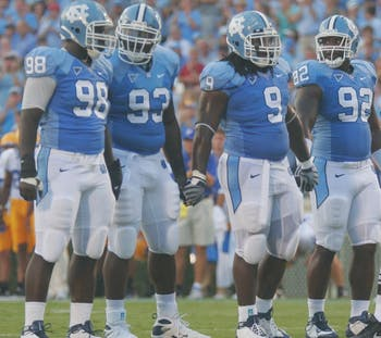 The North Carolina defense utilized the zone blitz in a 19-6 win over the Blue Devils. DTH File Photo