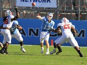 Quarterback TJ Yates broke his single-season passing record in the first half.  Yates threw one touchdown.