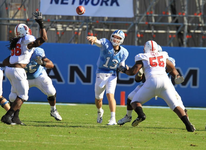 Quarterback TJ Yates broke his single-season passing record in the first half.  Yates threw one touchdown.