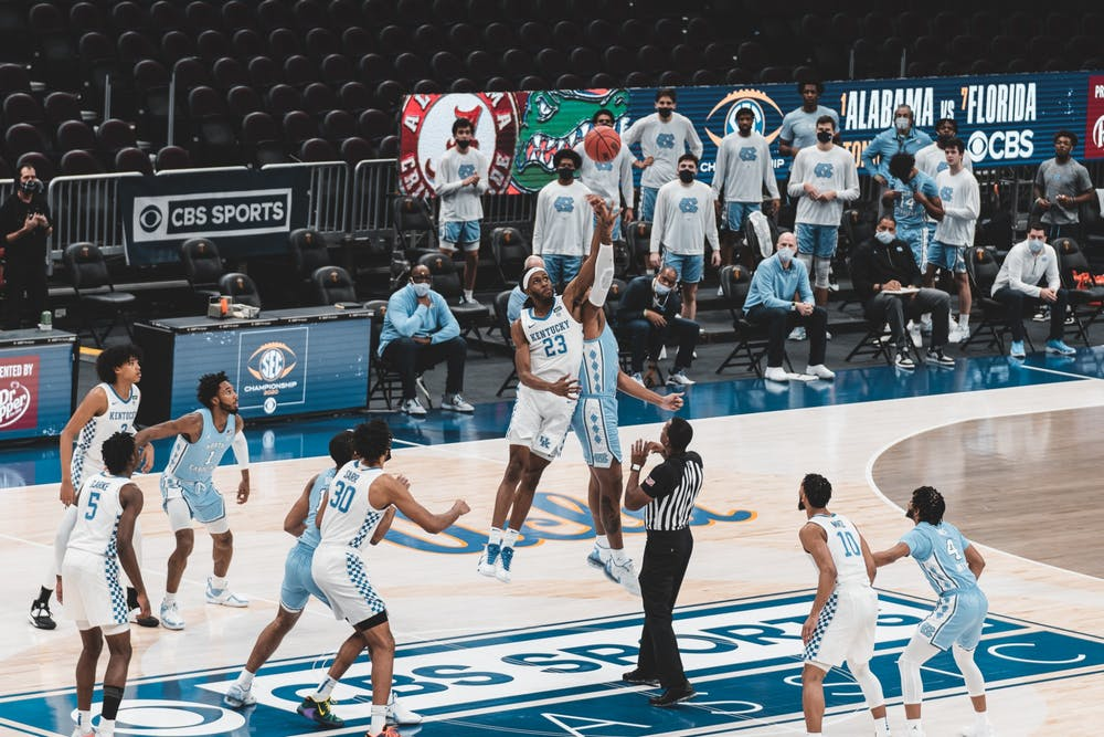 <p>UNC's men's basketball team faced off against Kentucky on Saturday, Dec. 19, 2020. UNC beat Kentucky 75-63. Photo courtesy of CBS Sports Classic Media.&nbsp;</p>