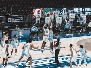 UNC's men's basketball team faced off against Kentucky on Saturday, Dec. 19, 2020. UNC beat Kentucky 75-63. Photo courtesy of CBS Sports Classic Media.