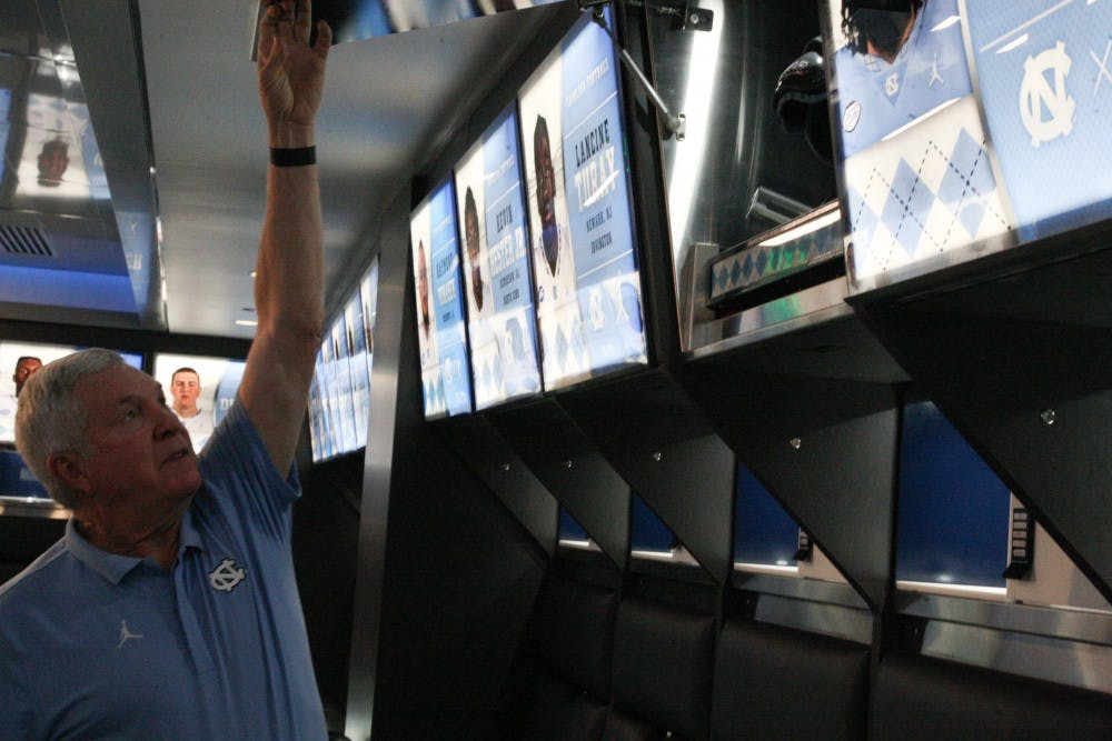 UNC football reveals upgraded locker room and weight room