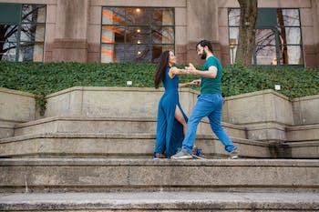Lydie Costes and Robert Pehlman dancing zouk together. Photo courtesy of Zoe Litaker.