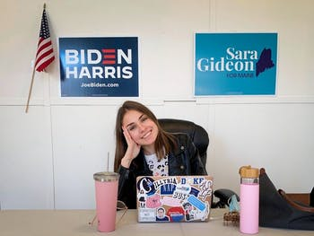 Junior Dora Pekec took the semester off school to work as a field organizer for Sara Gideon, a Democrat challenging Susan Collins (R-Maine) for her Senate seat. Photo courtesy of The Chronicle.