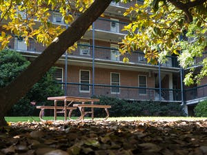 A bench sits outside of Ehringhaus Residence Hall on Sunday, June 7, 2020.