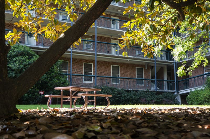 A bench sits outside of Eringhaus Residence Hall on Sunday, June 7, 2020.