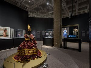 """One section of the """"Good as Gold:Fashioning the Senegalese"""" exhibit is photographed at the NCMA. Photo courtesy of Kat Harding"""