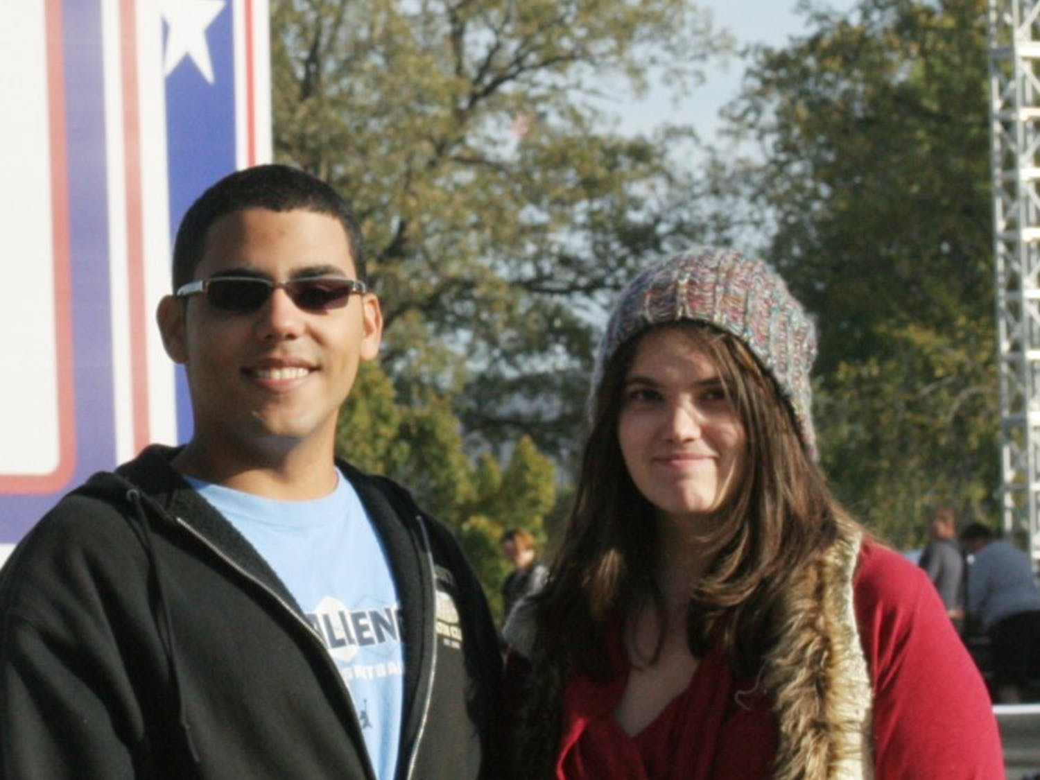 UNC freshmen Hector Brignoni and Chesse DeCain attended the Rally to Restore Sanity.