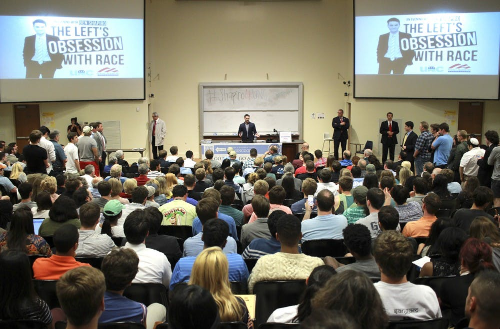 Ben Shapiro speaks at The Left's Obsession With Race: An Evening with Ben Shapiro, presented by UNC College Republicans in Caroll Hall on Wednesday night.