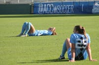The Tar Heels' women's soccer team is deflated after a tough loss to the Florida State Seminoles in the 2018 ACC Championship game on Sunday, Nov. 4.