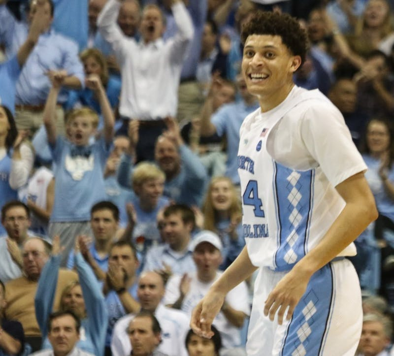 The No. 8 North Carolina basketball team defeated No. 7 Louisville 74-63 in the Smith Center Wednesday night. The Tar Heels now have a two game lead over Louisville and Duke in the ACC standings.