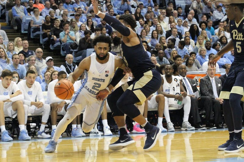North Carolina guard Joel Berry II (2) drives baseline against Pittsburgh on Feb. 3 in the Smith Center.