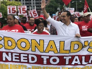 Julián Castro marching along with striking McDonalds workers in Durham