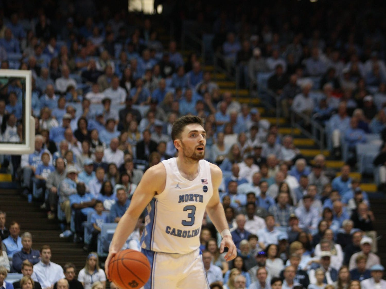 UNC guard Andrew Platek (3) during the Notre Dame game on Wednesday, Nov. 6, 2019 in the Dean E. Smith Center. The Tar Heels beat the Fighting Irish 76-65.