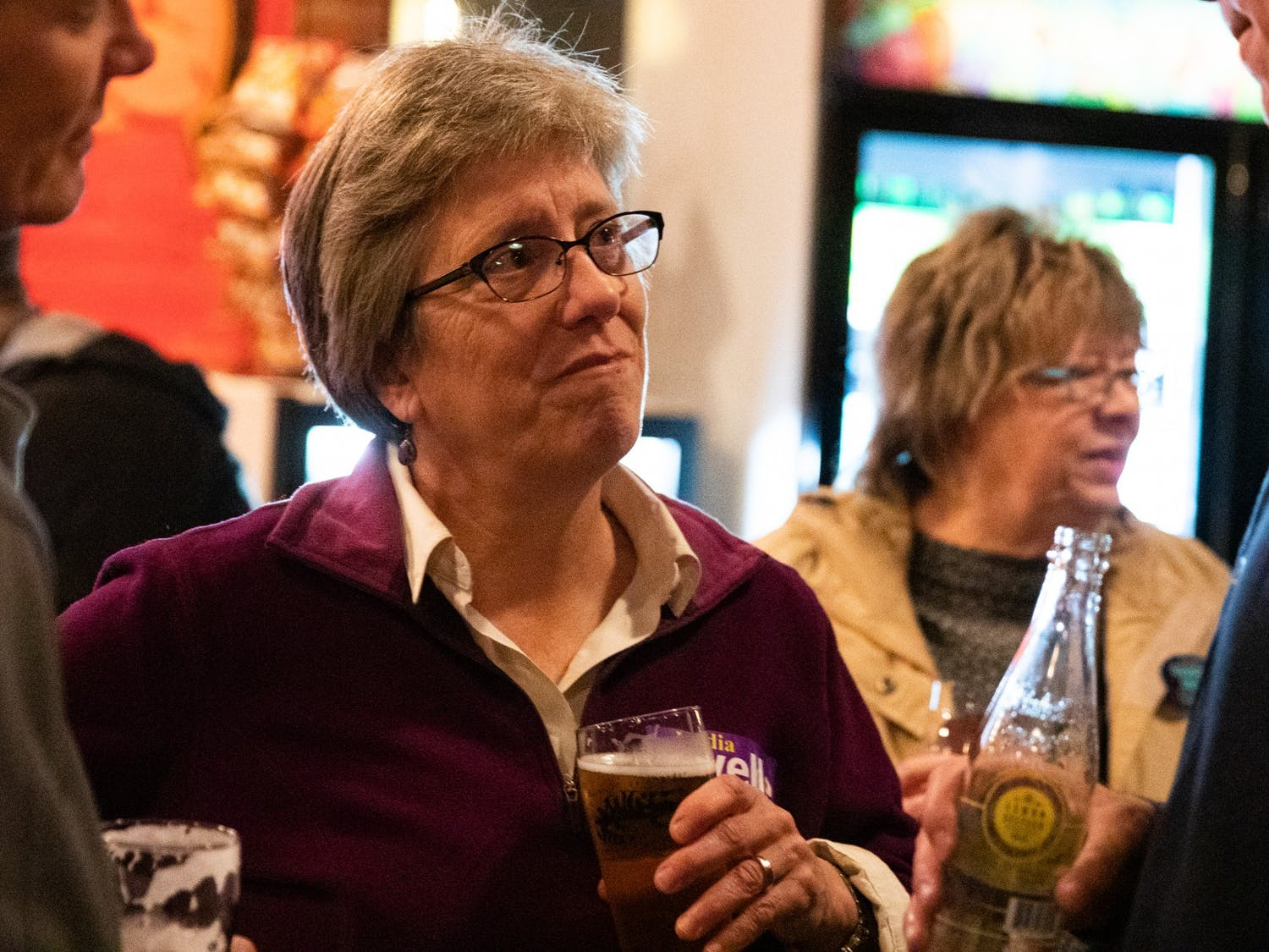 Carrboro mayoral candidate Lydia Lavelle attends a watch party hosted by alderman candidate Damon Seils' campaign at Steel String Brewery in Carrboro on Tuesday, Nov. 5, 2019.