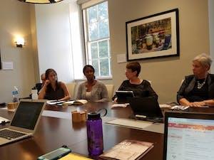 From left to rightMorgan McLaughlin,Ada Wilson, Rhonda Gibson and Judith Webb discuss LGBTQ life at Friday's meeting.