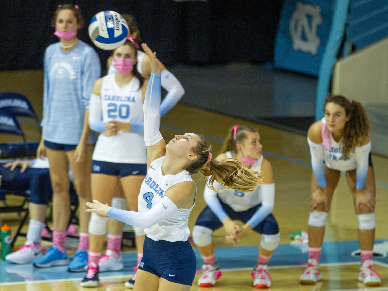 Redshirt sophomore libero Olivia Diaz  (4) sets the ball at the volleyball game against  Duke on Oct. 22 at Carmicahel Arena. UNC won 3-0.