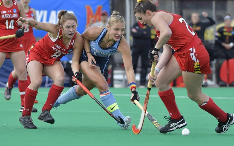 Senior back Ashley Hoffman fights for the ball during North Carolina's 2-0 win over Maryland in the 2018 National Championship game on Nov. 18 in Louisville, Ky. Photo courtesy of Jeffrey A. Camarati.