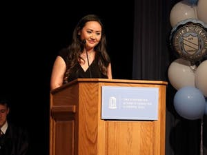 Student Body President Elizabeth Atkins speaks at her inauguration on Tuesday. Photo Courtesy of Elizabeth Atkins.
