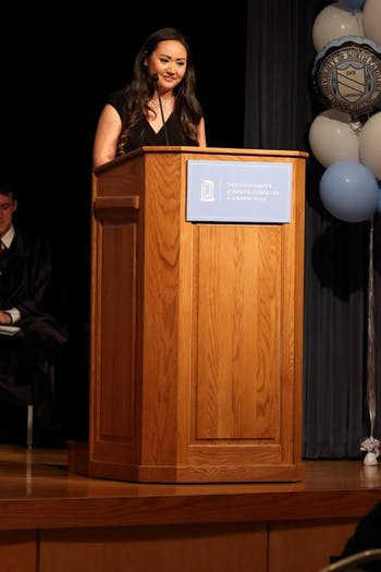 Student Body President Elizabeth Atkins speaks at her inauguration on Tuesday. Photo Courtesy of Elizabeth Atkins.