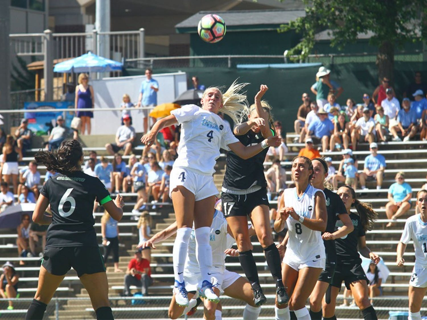 UNC women's soccer defeats UNC Charlotte 3-0 Sunday afternoon at Fetzer Field.