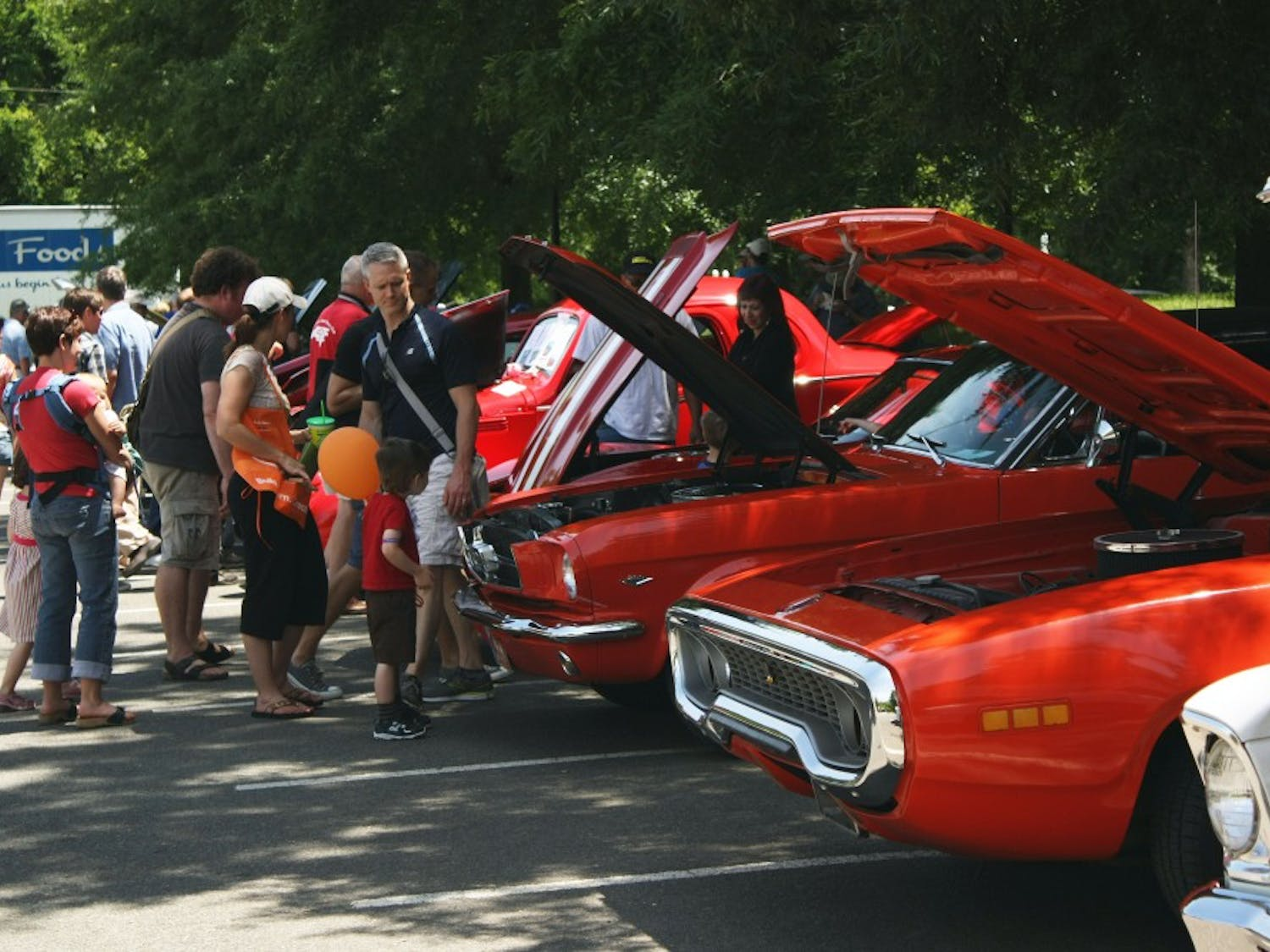 Attendees view the car show held by Triangle Thunder Cruisers on May 19. The car show started in 2007 and is the largest in the area.