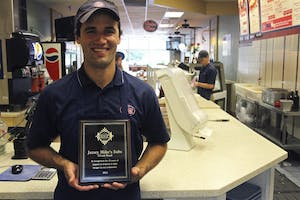 "From RSVVP Day 2014: Jersey Mike's franchise co-owner Charlie Farris was presented with an award after participating in RSVVP for 10 years. ""Food is our life. It's what we do. Helping people get food is really important to us, especially those who can't afford it,"" said Farris."
