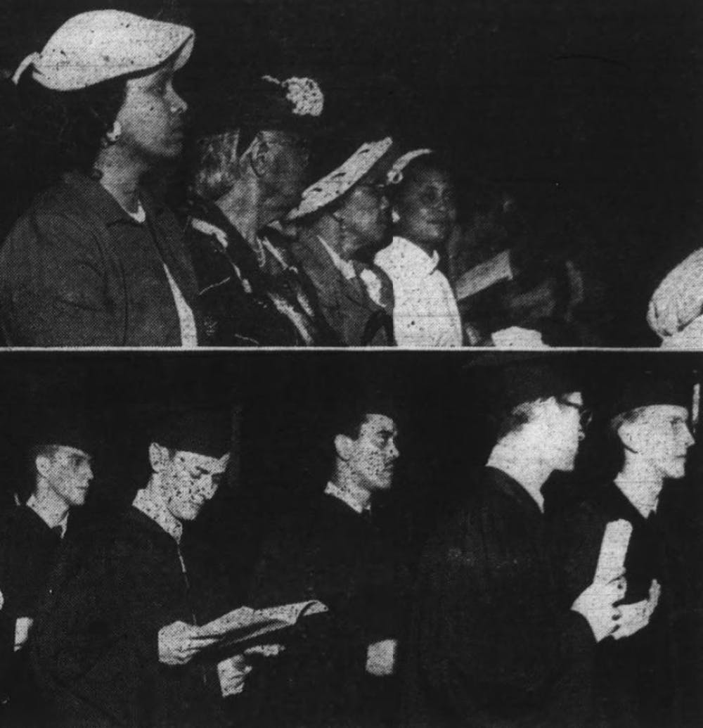 Carolina Times Archive. Top photo shows relatives of Harvey Beech of Kinston, the first Black man to ever graduate from UNC. From left to right: Lillian Beech, Mary J. Ruffin, Mamie Crowder, and Eloise Beech. In the bottom photo, Harvey Beech is third from the left.