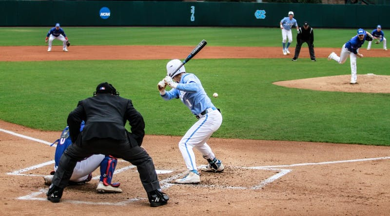 UNC short stop first-year Danny Serretti (5) bats for the Tar Heels against UMass Lowell on Sunday, March 3, 2019 at Boshamer Stadium.