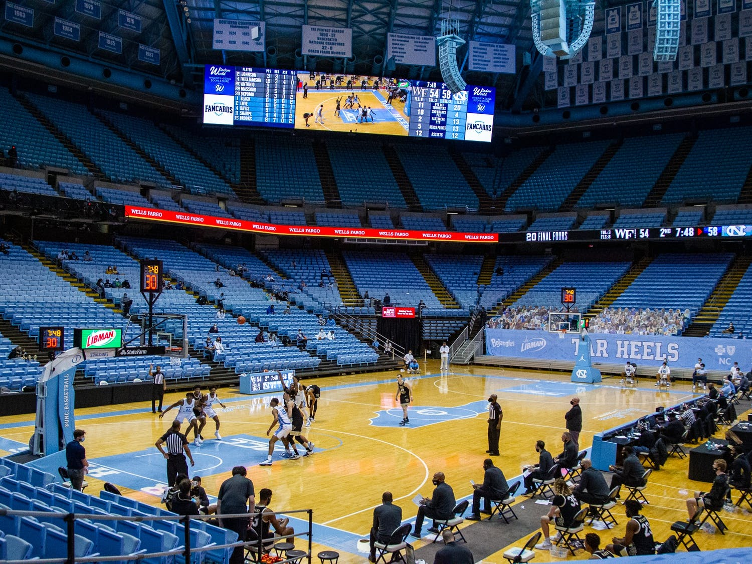 Wake Forest takes a free throw in the Dean Smith Center Jan. 20, 2021. The Tar Heels beat the Demon Deacons 80-73.