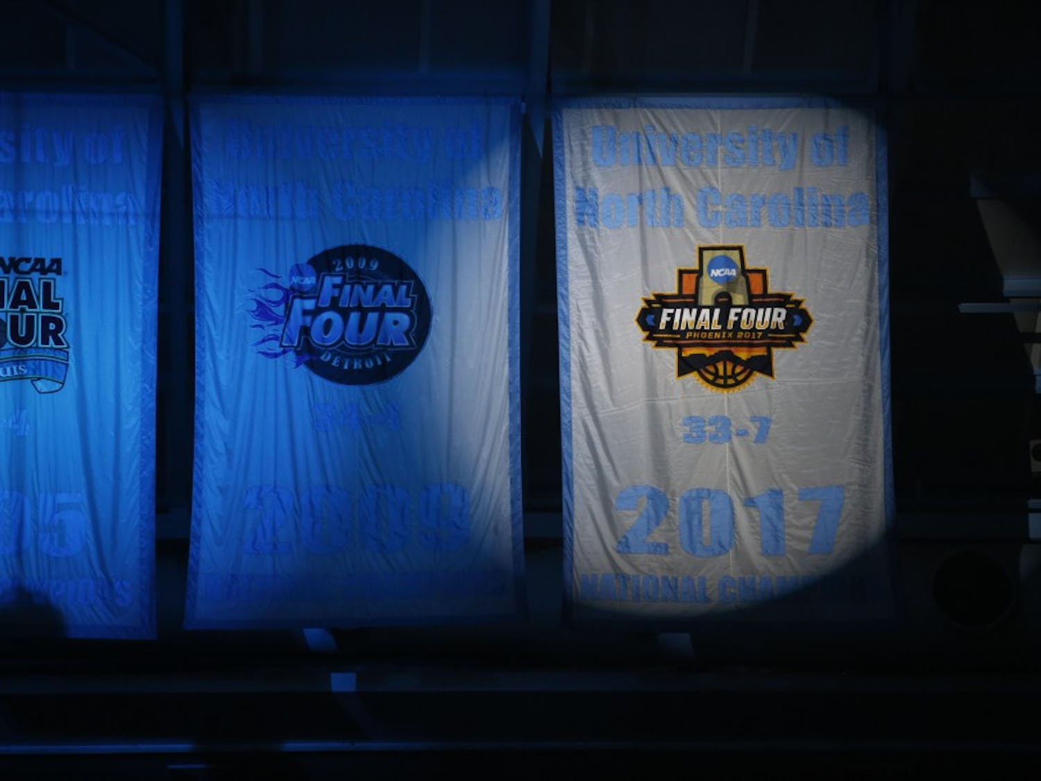 The North Carolina men's basketball team hosted its 13th annual Late Night With Roy on Friday night in the Smith Center. The event featured dances, scrimmages and the unveiling of the 2017 national championship banner.