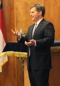 """UNC Hillel and the Education Committee hosted Senator Josh Stein, a leading North Carolina Politician to speak about being Jewish in the North Carolina political scene.   """"The way we are going to succeed is having an educated workforce."""""""