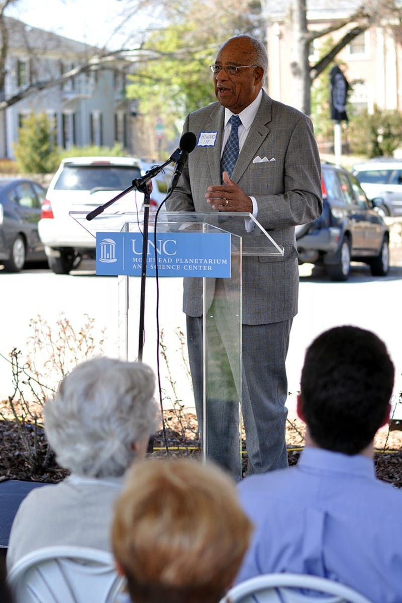 Howard Lee, mayor of Chapel Hill between 1969-1975, spoke at the NC Highway Historical Marker Dedication Ceremony outside of the Morehead Planetarium and Science Center on Wednesday.