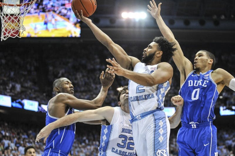 North Carolina guard Joel Berry (2) goes up for a shot in No. 5 UNC's 90-83 win over No. 17 Duke on March 4th in the Smith Center. Berry finished with a team-high 28 points and five made 3-pointers.