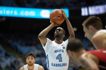 UNC senior guard Brandon Robinson (4) takes a free throw shot at the exhibition game against Winston-Salem State on Friday, Nov. 1, 2019 in the Smith Center. Shortly afterward, Robinson sustained an ankle injury and did not play for the rest of the game. UNC won 96-61.