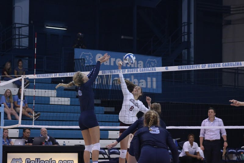Outside hitter Skylar Wine (6) makes a block against Maryland Eastern Shore in Carmichael Arena on Aug. 31 in the Carolina Classic.
