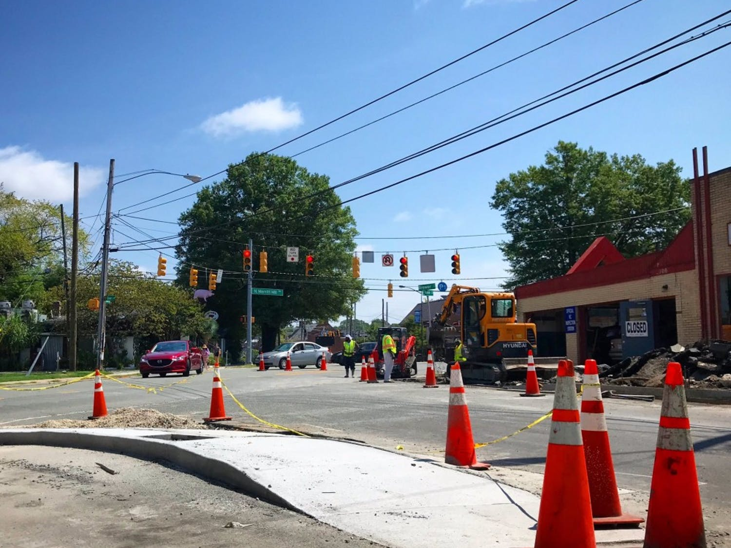 The N.C. Department of Transportation is funding construction at the intersection where Franklin Street and Carrboro's Main Street meet. Photo courtesy of Damon Seils.