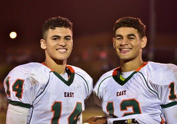 North Carolina linebacker Chazz Surratt, right, and his brother Sage played three years of high school football together at East Lincoln in Denver, N.C. Chazz was the Mustangs' quarterback, and Sage was their top receiver. Photo courtesy of Brandi Surratt.