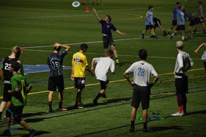 The club ultimate frisbee team holds their evening practice at Hooker fields on Sept. 18.