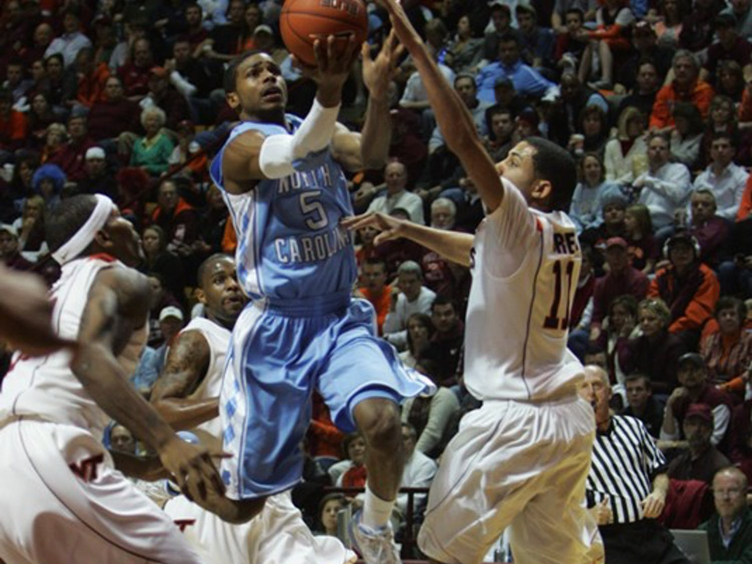Guard Dexter Strickland started his fourth game of the season against the Hokies. DTH/Margaret Cheatham Williams