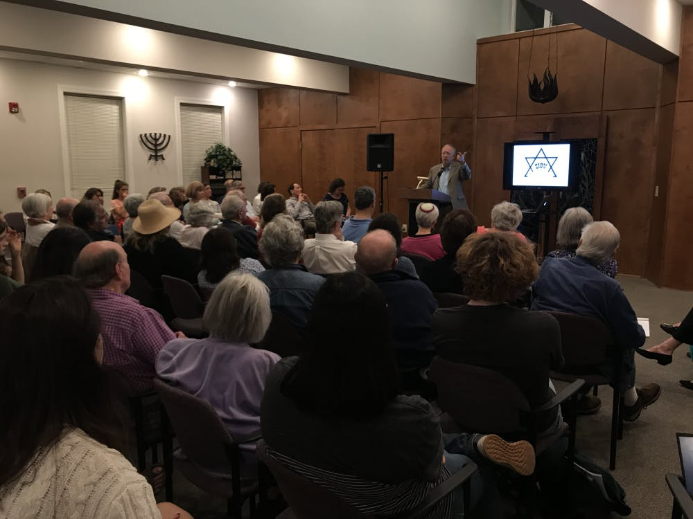<p>Marc Dollinger defines anti-Israelism, anti-Zionism and anti-Semitism according to his academic research at UNC Hillel Thursday following the discovery of anti-Semitic posters in Davis Library.</p>