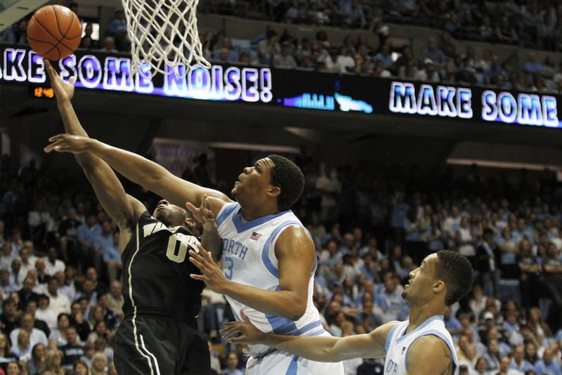 Kennedy Meeks (3) blocks a shot in UNC's win against Wake Forest at the Smith Center in 2014.