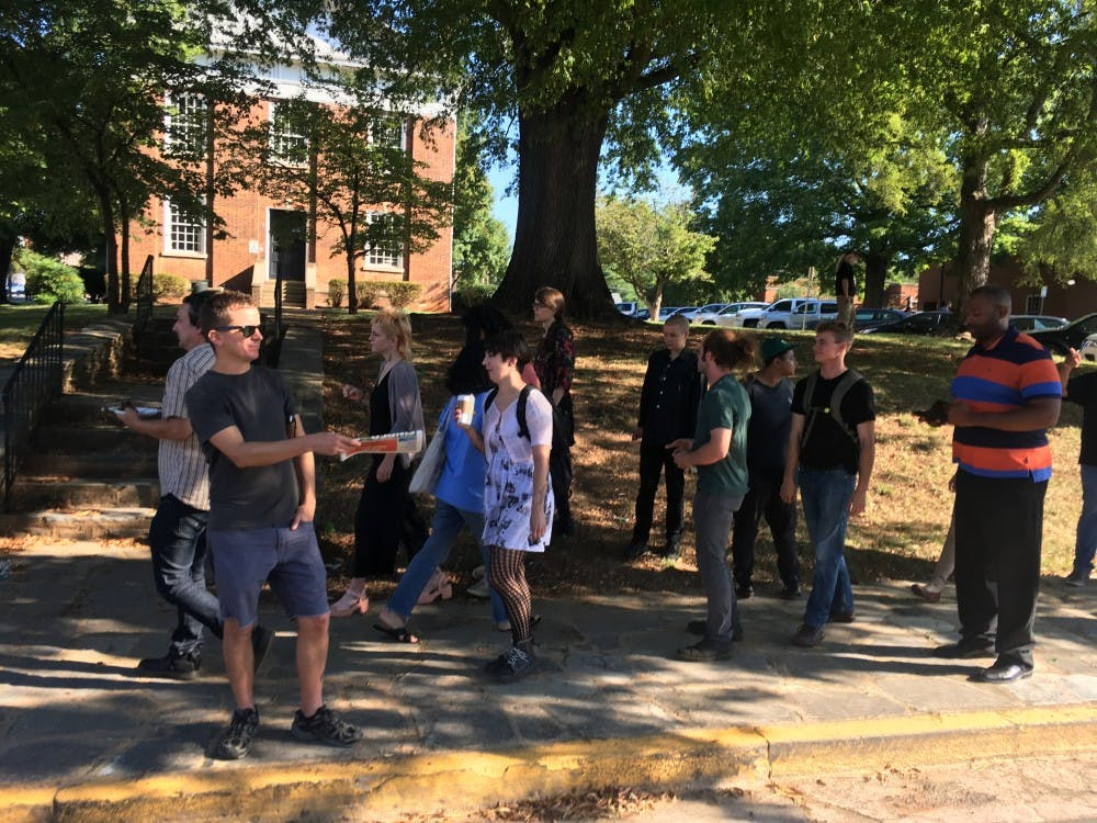 Supporters gather outside Orange County courthouse as Silent Sam cases move forward
