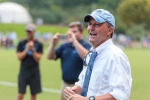 UNC women's soccer head coach Anson Dorrance looks on during his team's 2-0 win over Ohio State on Aug. 19 at Finley Fields South. The victory was his 1,000th in a decorated career.